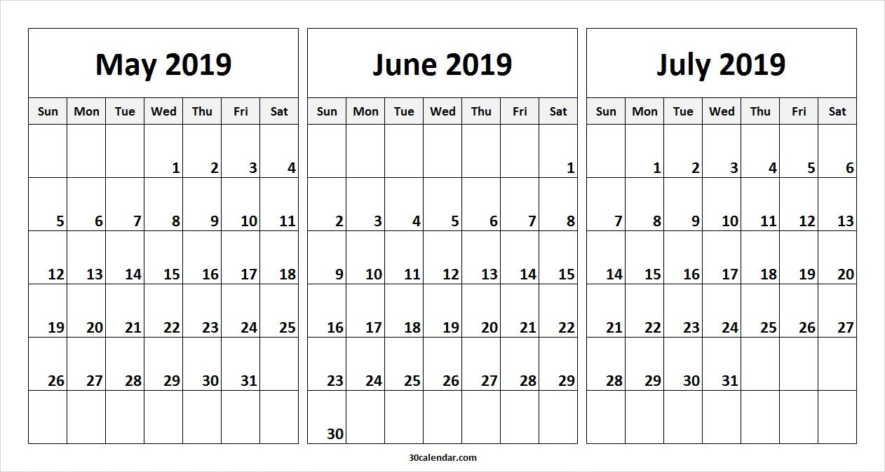 May June July 2019 Calendar Template | 2019 Calendars | 2019 with regard to 3 Month Calendar Templates May June July