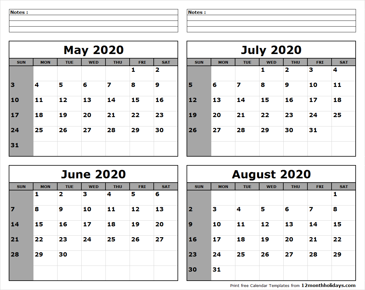 May-June-July-August-2020-Calendar-To-Print - All 12 Month Calendar within June July August 2020 Calendar