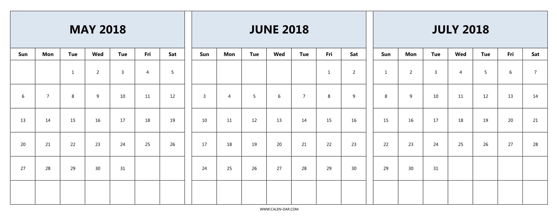 May June July Calendar 2018 Template Printable | Three Month Calendar pertaining to 3 Month Calendar Templates May June July
