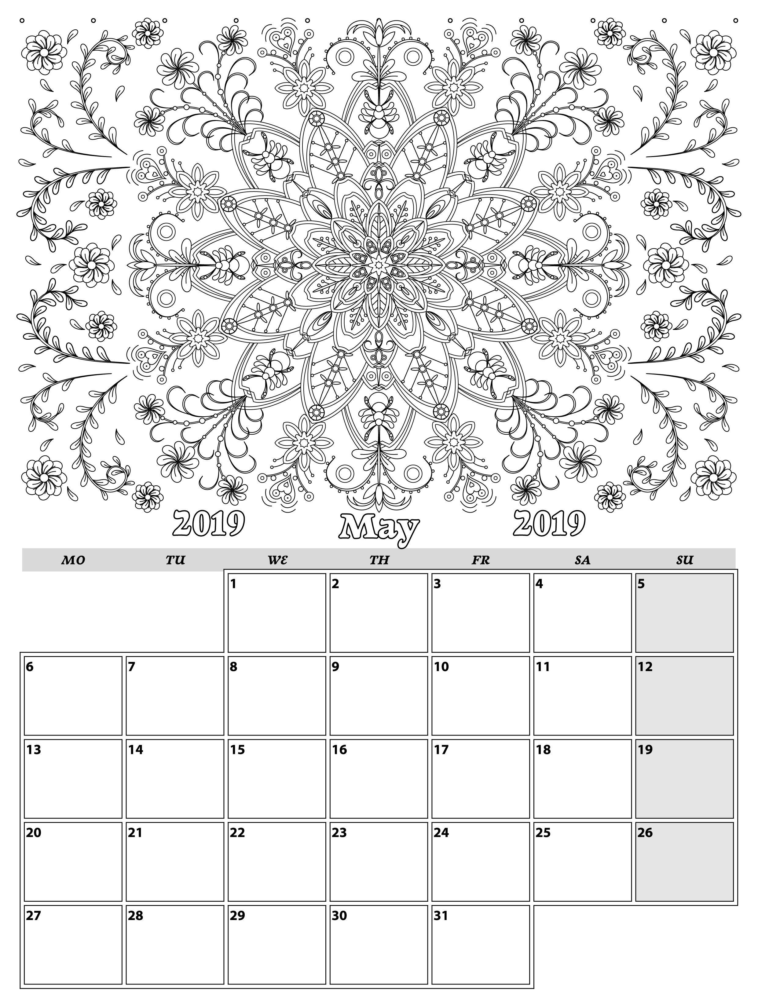 May. Monthly Planner 2019 In Doodle Style For Relax And Plan, Vector inside Doodle Monthly Planner Printer Templates