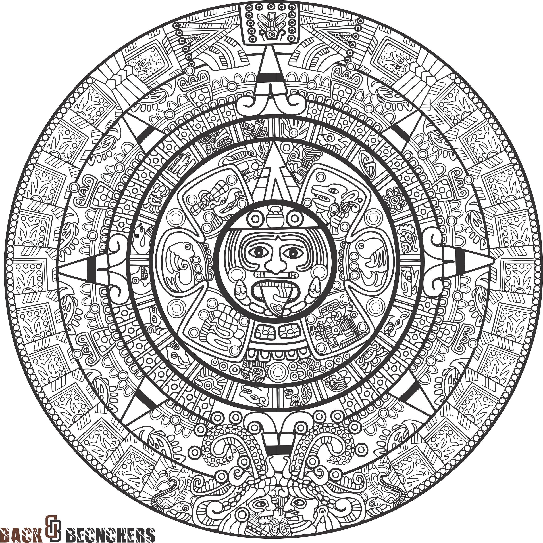 Mayan Calendar ,aztec Calendar ,calendar Printable Resizable Dxf, Eps, Svg  File intended for Aztec Calendar Printable Template