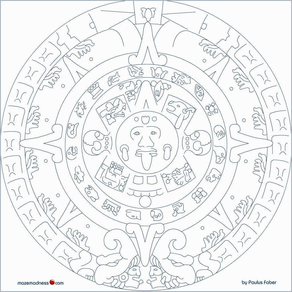 Mayan Calendar Drawing At Paintingvalley   Explore Collection Of throughout Aztec Calendar Printable Template