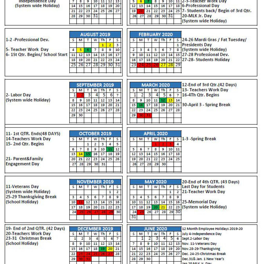 Mcpss Releases 2019-20 School Year Calendar | Thewire intended for Calendar With Special Days 2020