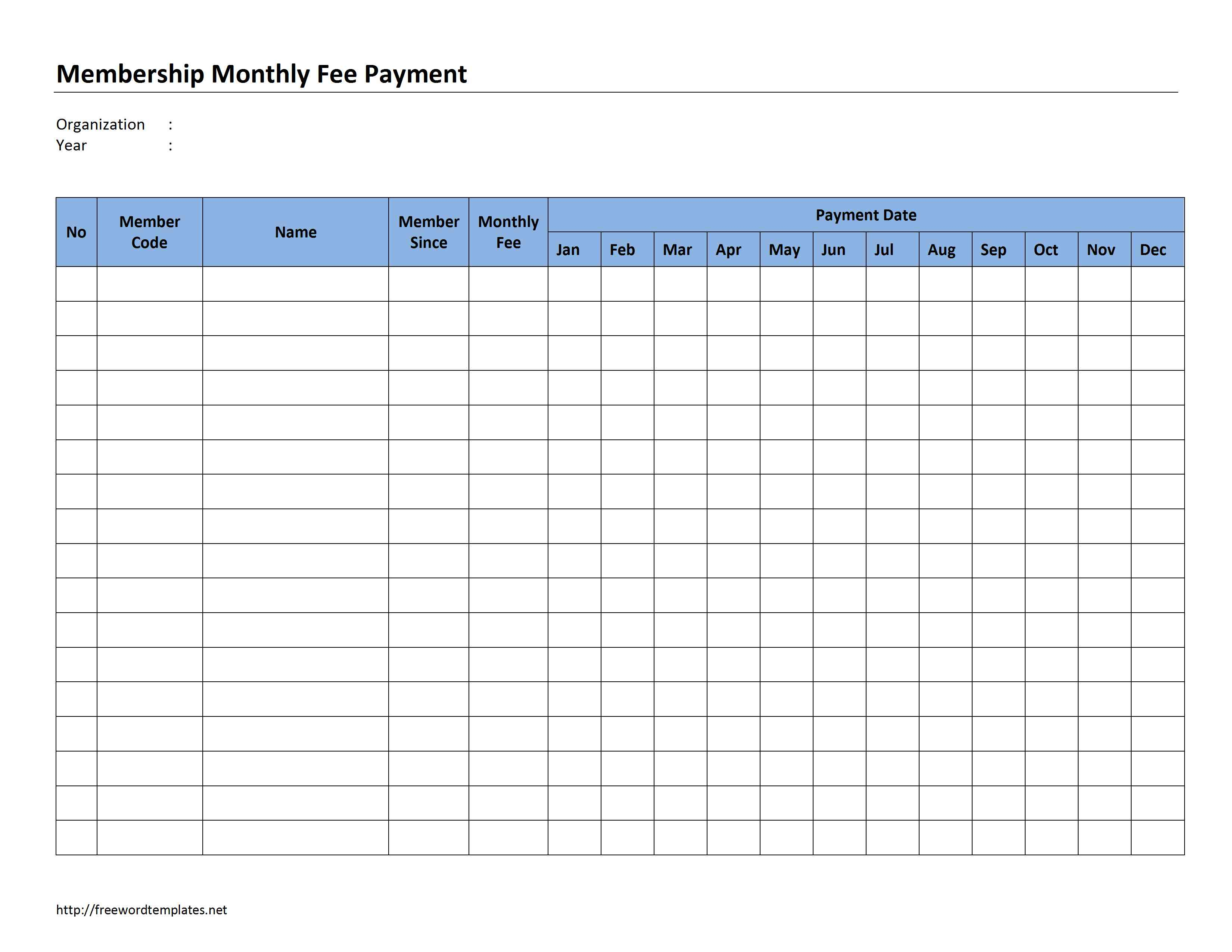 Membership Monthly Fee Payment for Blank Copy Of Monthly Sign Up Sheet Calendar Schedule