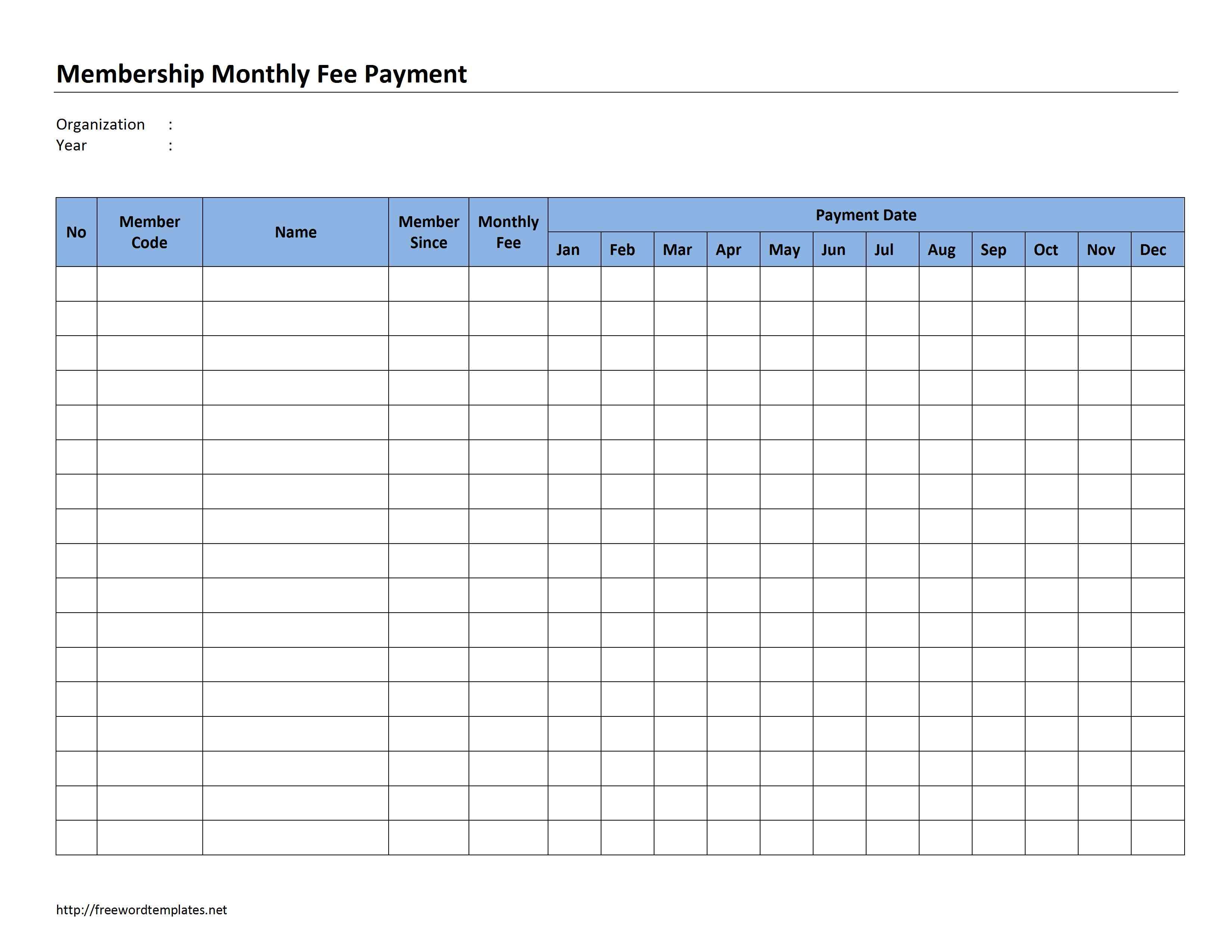 Membership Monthly Fee Payment regarding Excel Calendar Template Bill Pay