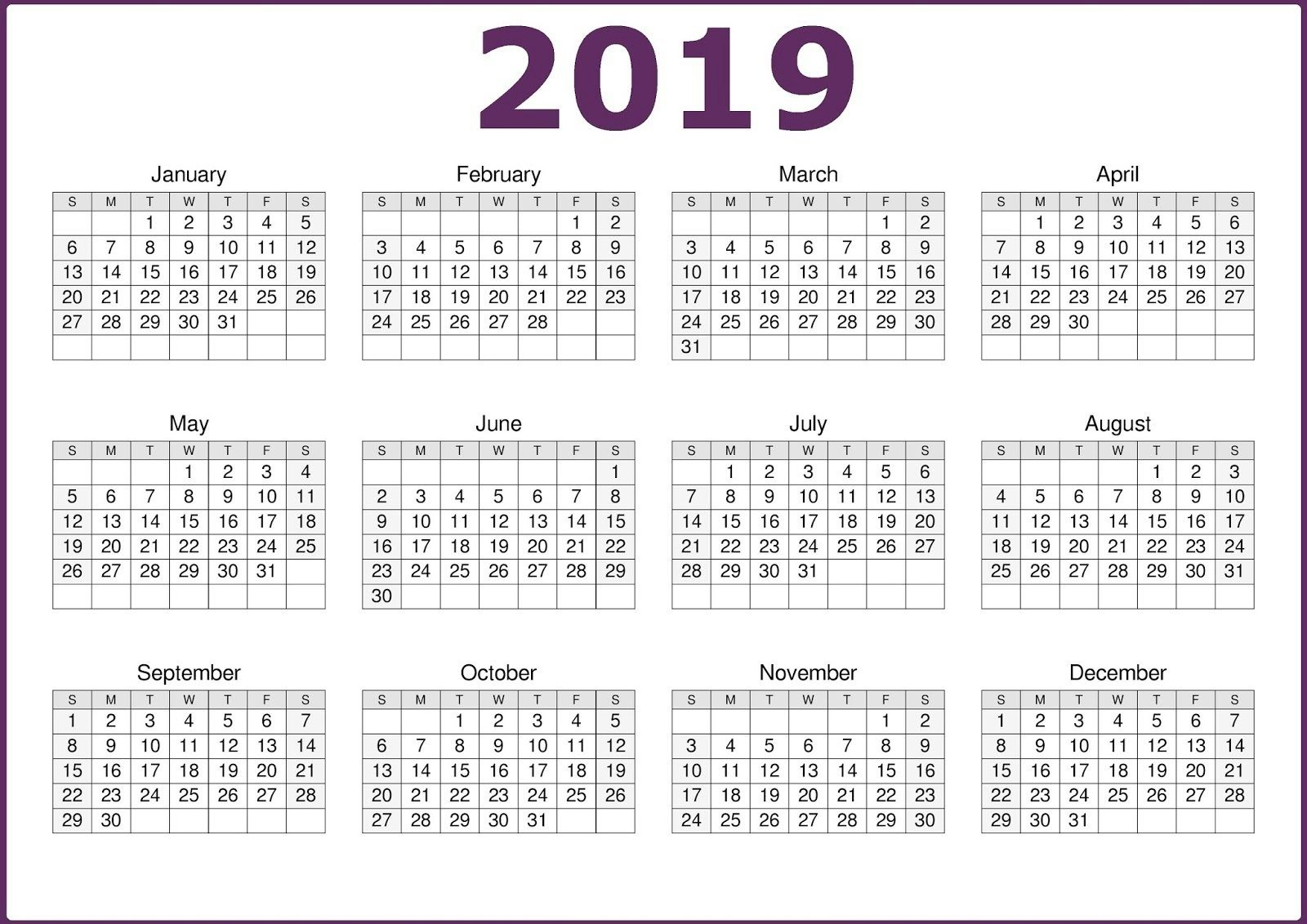 Microsoft Calendar Template 2019 Download | Top 10 Free 2019 throughout Blank 12 Month Calender