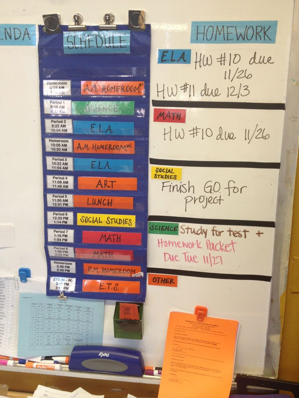Middle School Agenda/schedule/homework Area On Board, Color-Coded throughout Homework Agenda Template 7Th Grade