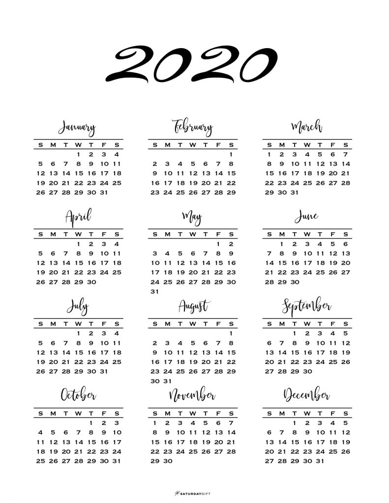 Minimal One Page Calendar For 2019 & 2020 {Free Printables} pertaining to 2020 Calendar Sunday Through Saturday