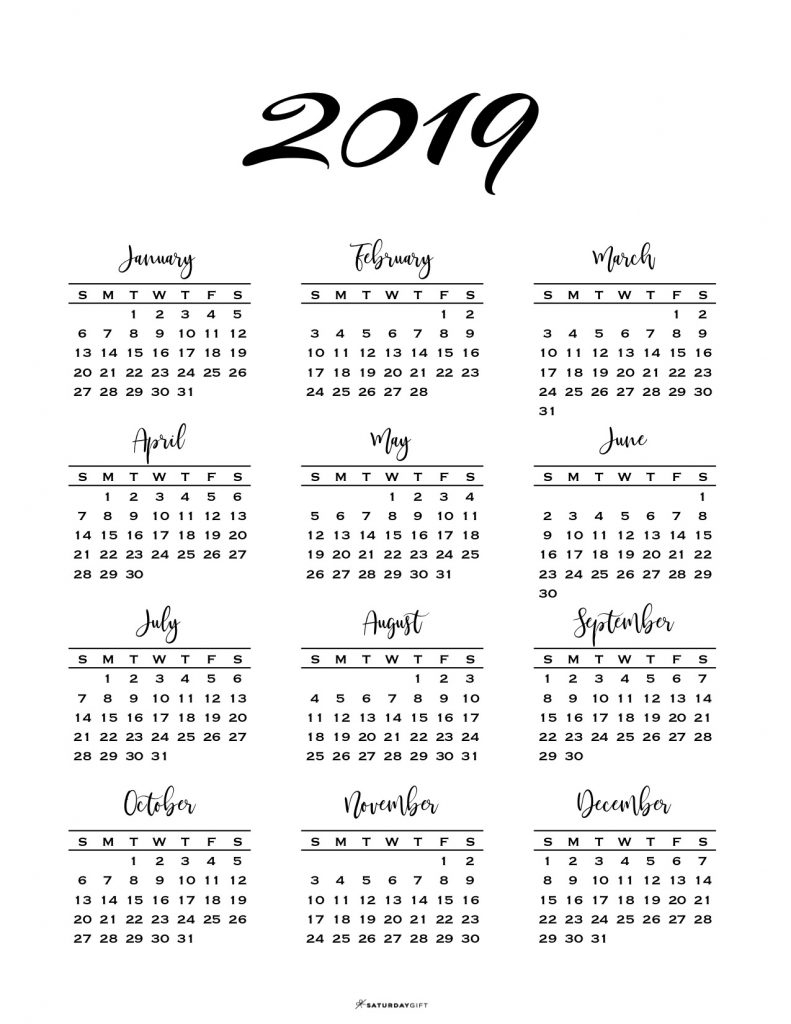 Minimal One Page Calendar For 2019 & 2020 {Free Printables} within 2019 And 2020 Calendar One Page