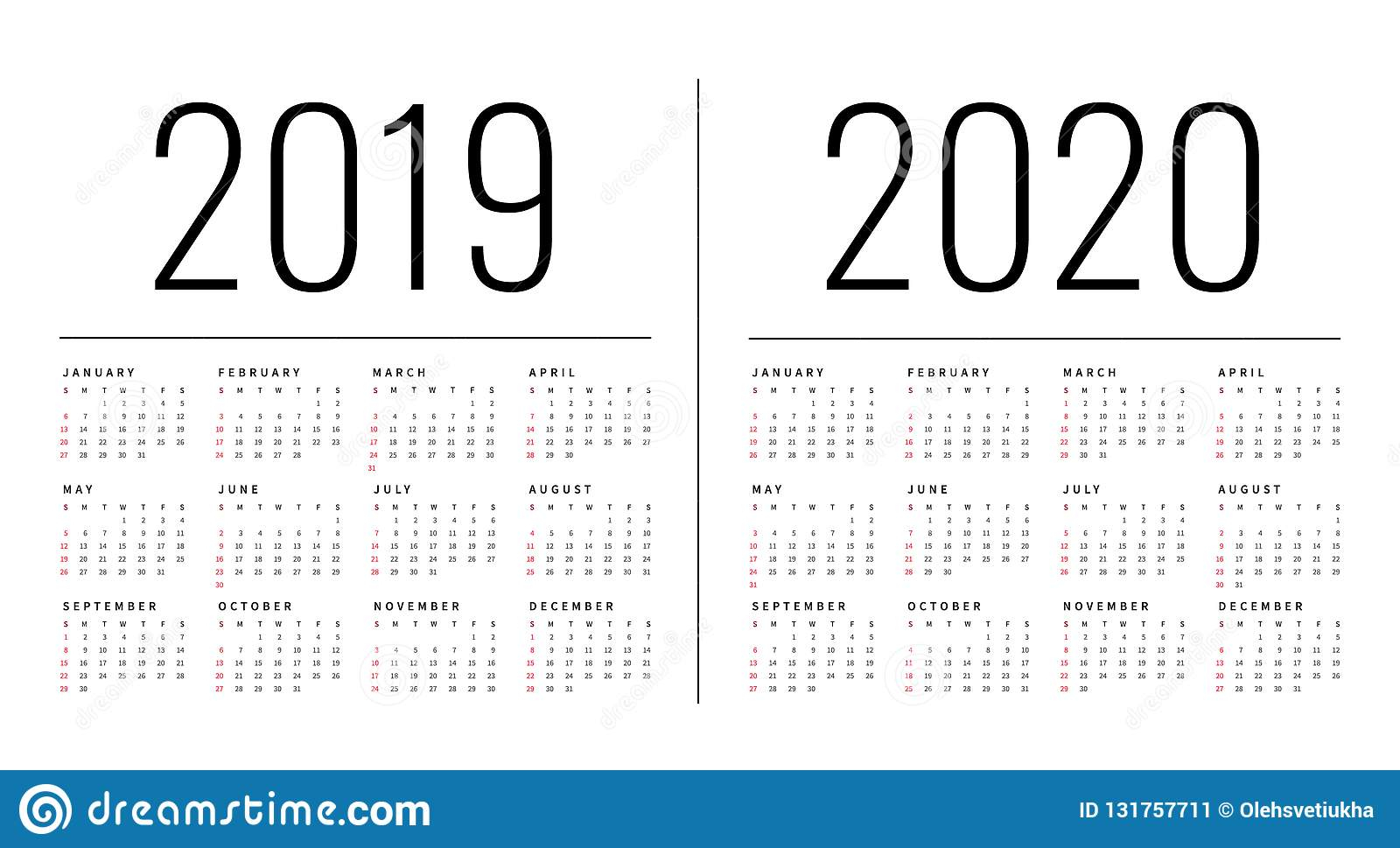 Mockup Simple Calendar Layout For 2019 And 2020 Years. Week Starts pertaining to 2020 Calendar Starting On Monday