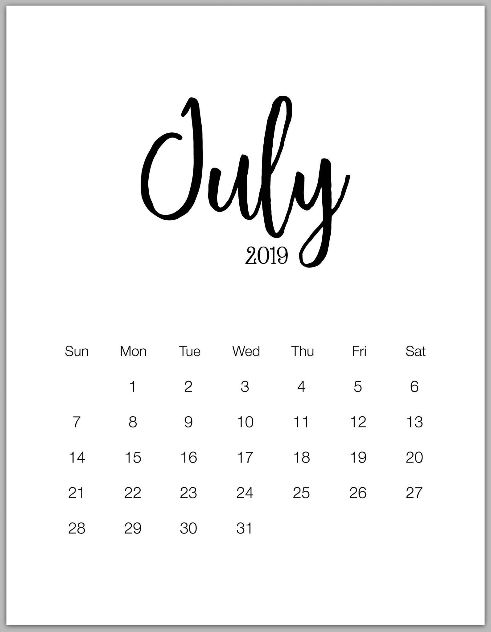 Modern Minimal July 2019 Calendar Blank | 100+ July 2019 Calendar for Free Printable Blank Advent Activities List Minimal