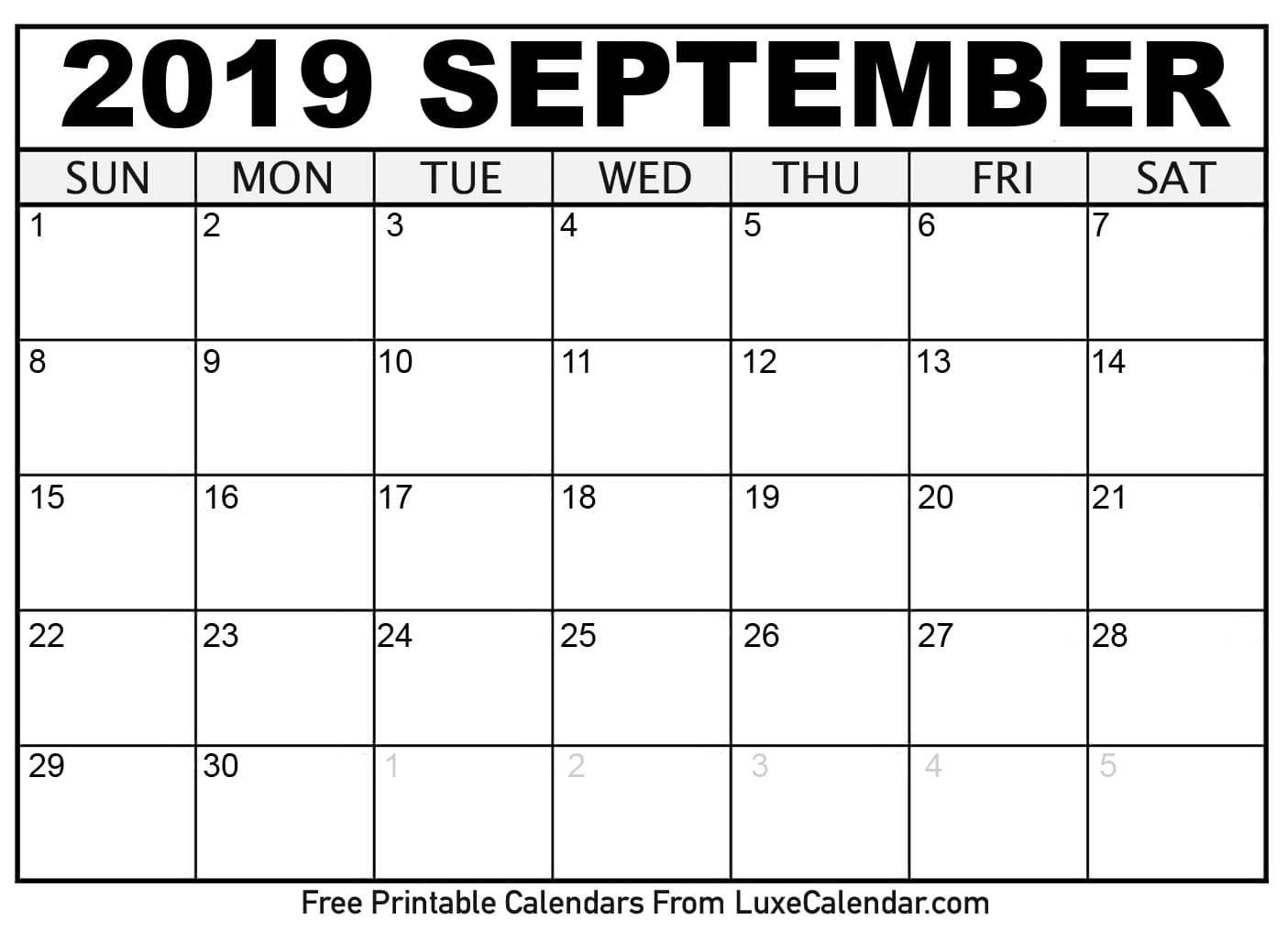 Monday Sunday Calendar Template September 2019 | Calendar Format Example with regard to Monday Sunday Calendar Template September
