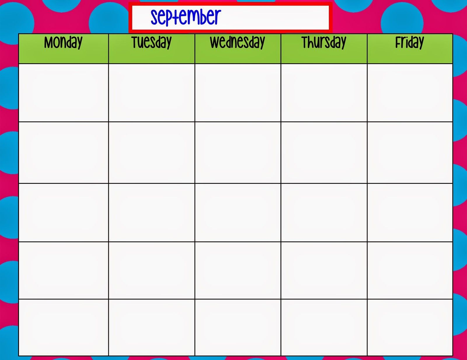 Monday Through Friday Calendar Template   Preschool   Weekly pertaining to Blank Weekly Monday Through Friday Calendar Template