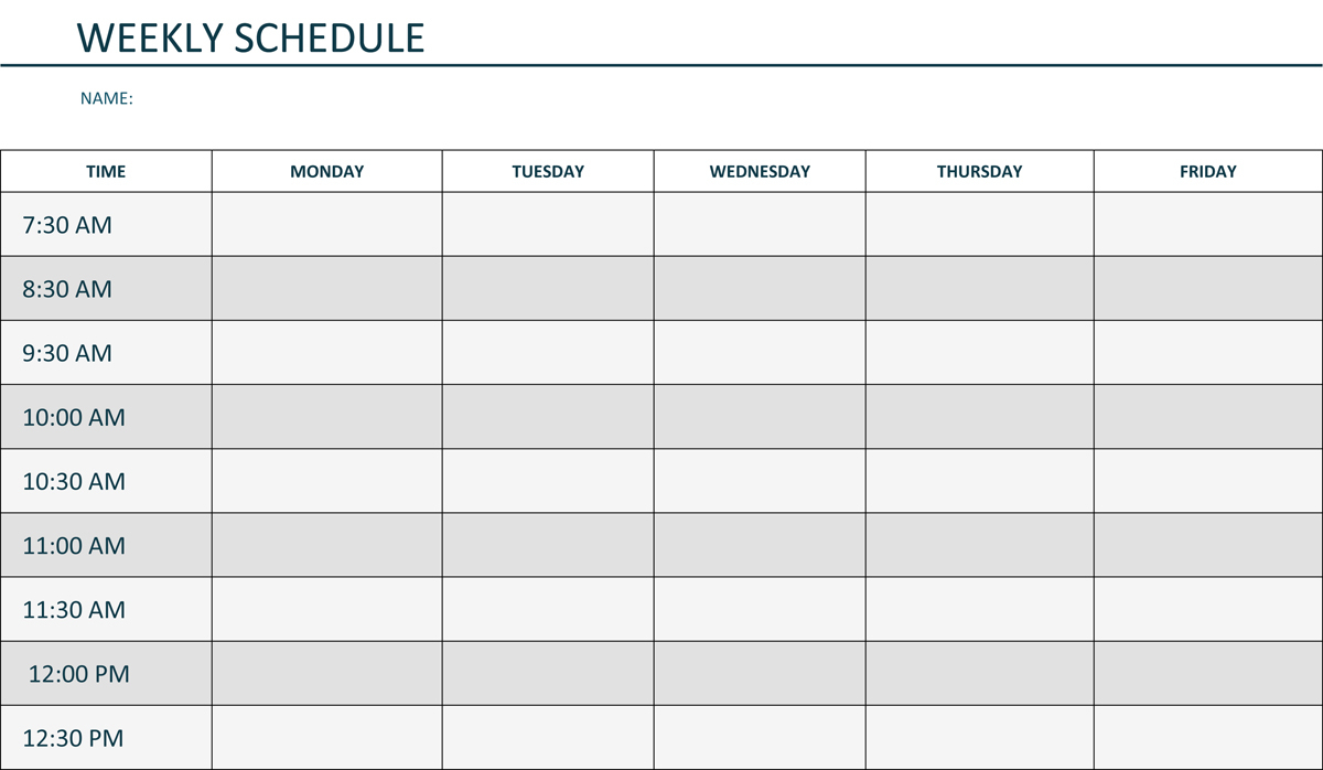 Monday Through Friday Printable Weekly Schedule | Hauck Mansion within Monday Through Friday Schedule Template