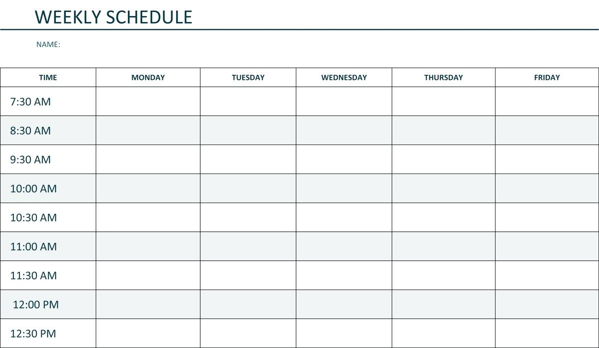 Monday Through Friday Schedule Template Calendar To Business Letters for Monday To Friday Timetable Template