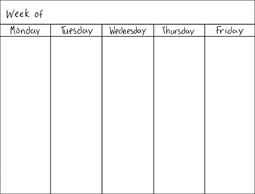 Monday Thru Friday Calendar | Calendar Template 2019 with Monday Through Friday Blank Schedule Print Out