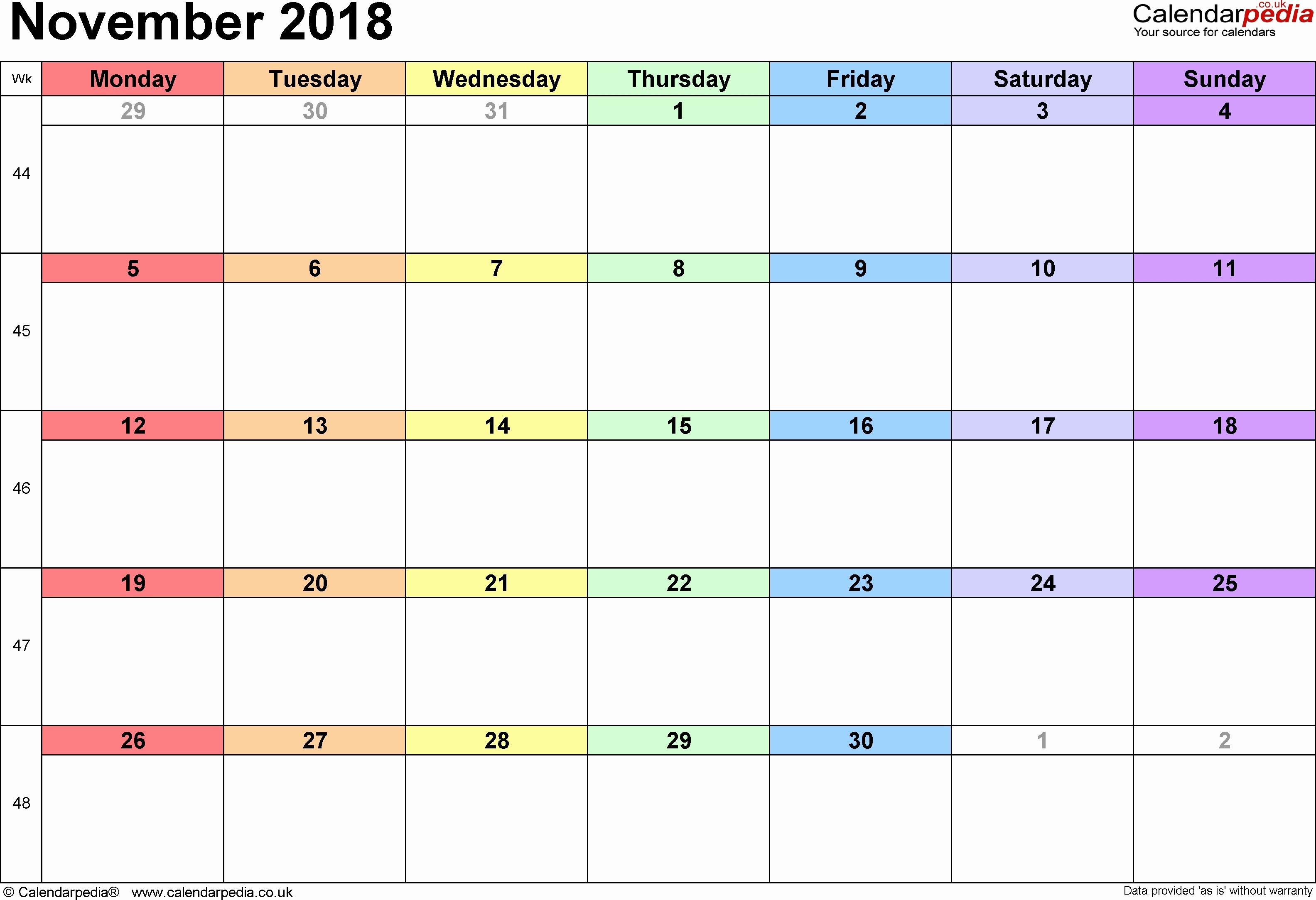 Monday To Sunday Calendar Template Fresh November 2018 Monday intended for Monday To Sunday Calendar Template November