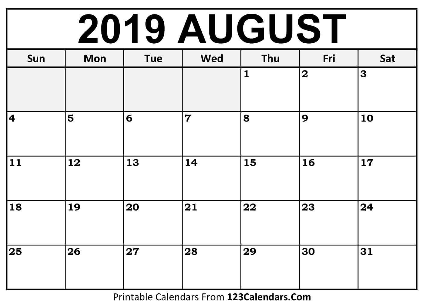 Month Of August 2019 Printable Calendar   Calendar Template in Printable Monthly Calendar Templates August