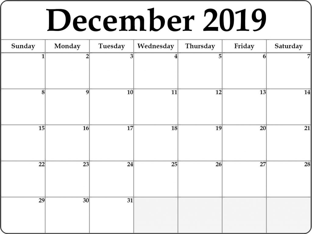 Month Of December 2019 Calendar - Free Printable Calendar & Template regarding Blank Bold December Calendar
