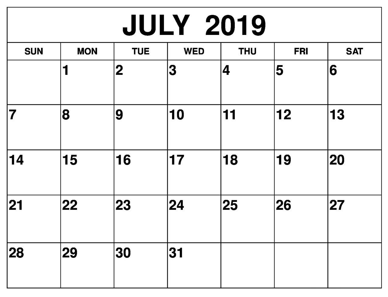 Month Of July 2019 Calendar For Word, Pdf And Excel - Latest throughout Blank July Monthly Calendar