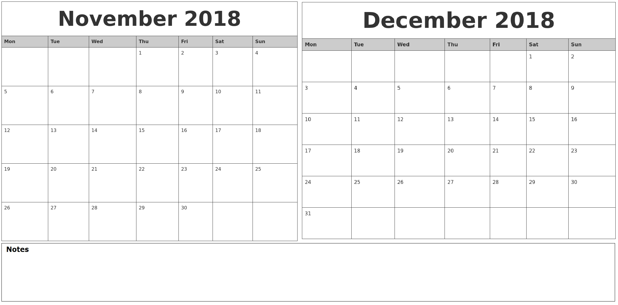 Monthly 2018 Calendar November December | Template Calendar Printable for November Calendar For Quikcalendertemplate
