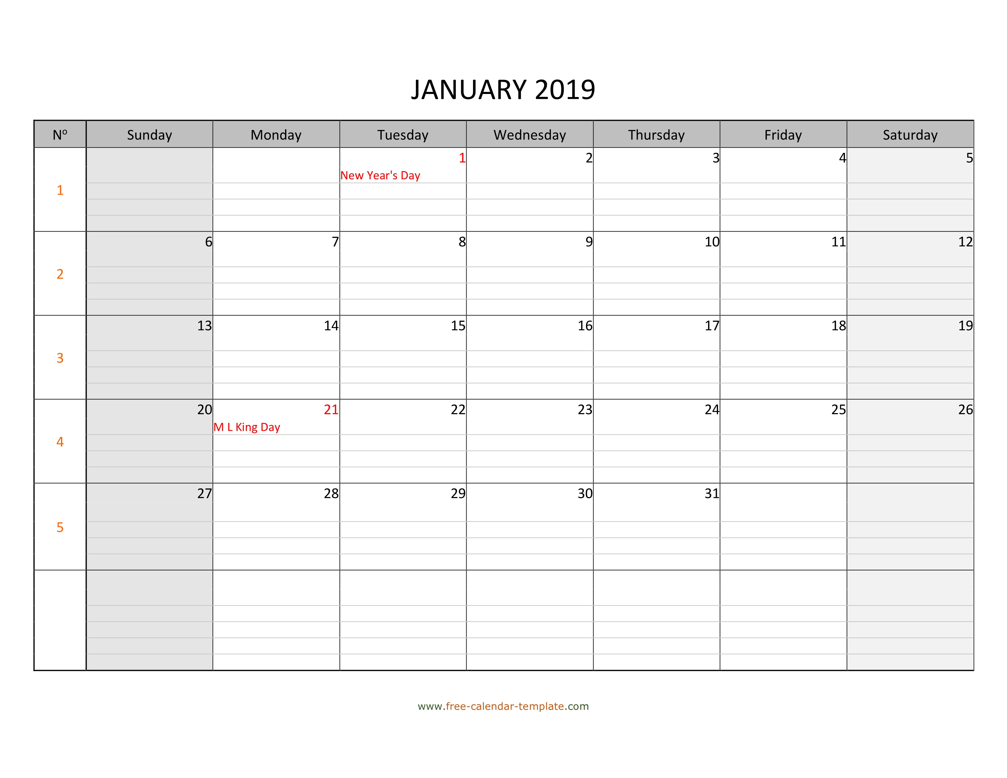 Monthly 2019 Calendar Free Printable With Grid Lines Designed pertaining to Horizontal Weekly Calendar Template