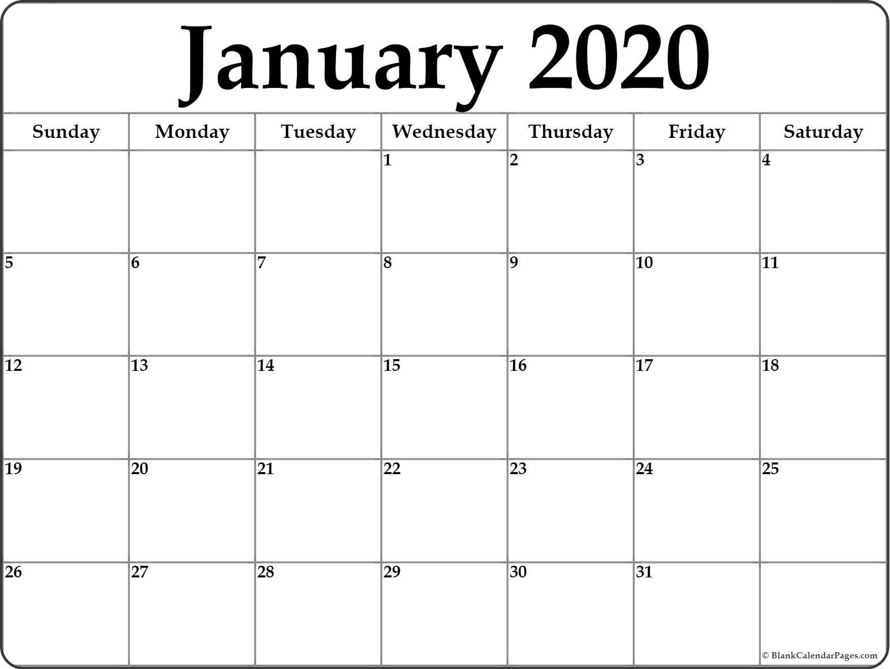 Monthly 2020 Calendar Printable January 2020 Blank Calendar intended for Large Blank Monthly Calendars January Printable