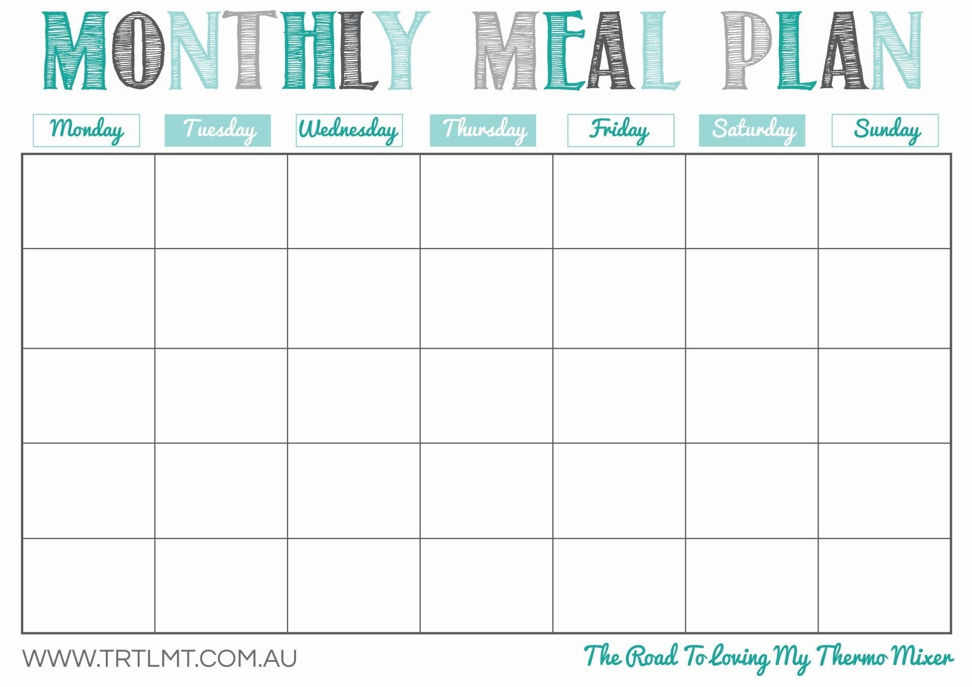 Monthly 5 Week Menu Rotation Template | Template Calendar Printable for 5 Week Lunch Menu Rotation Template