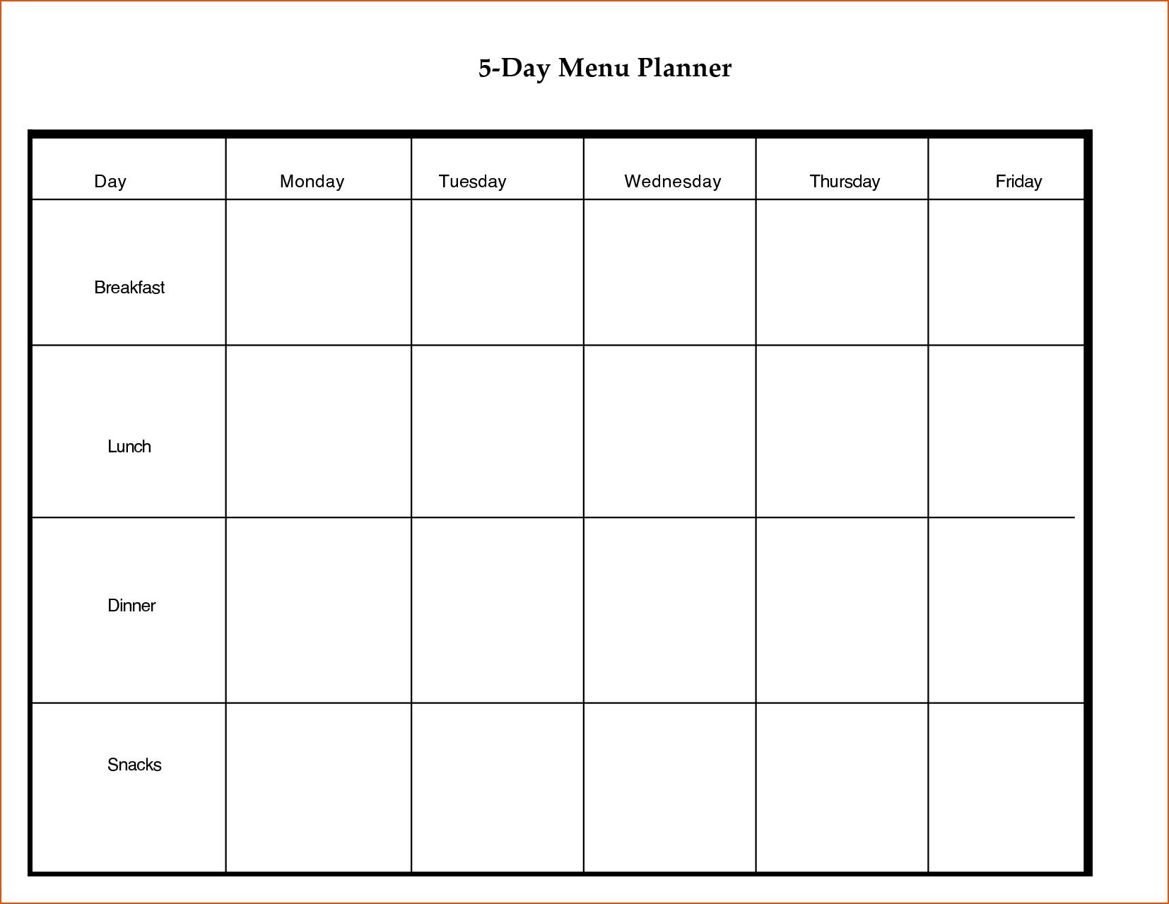 Monthly 5 Week Menu Rotation Template   Template Calendar Printable throughout Monthly 5 Week Menu Rotation Template