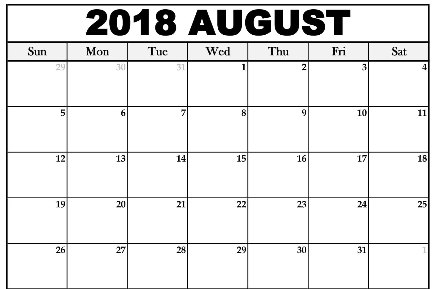 Monthly August Calendar For 2018 inside Printable Template Monthly Schedule August