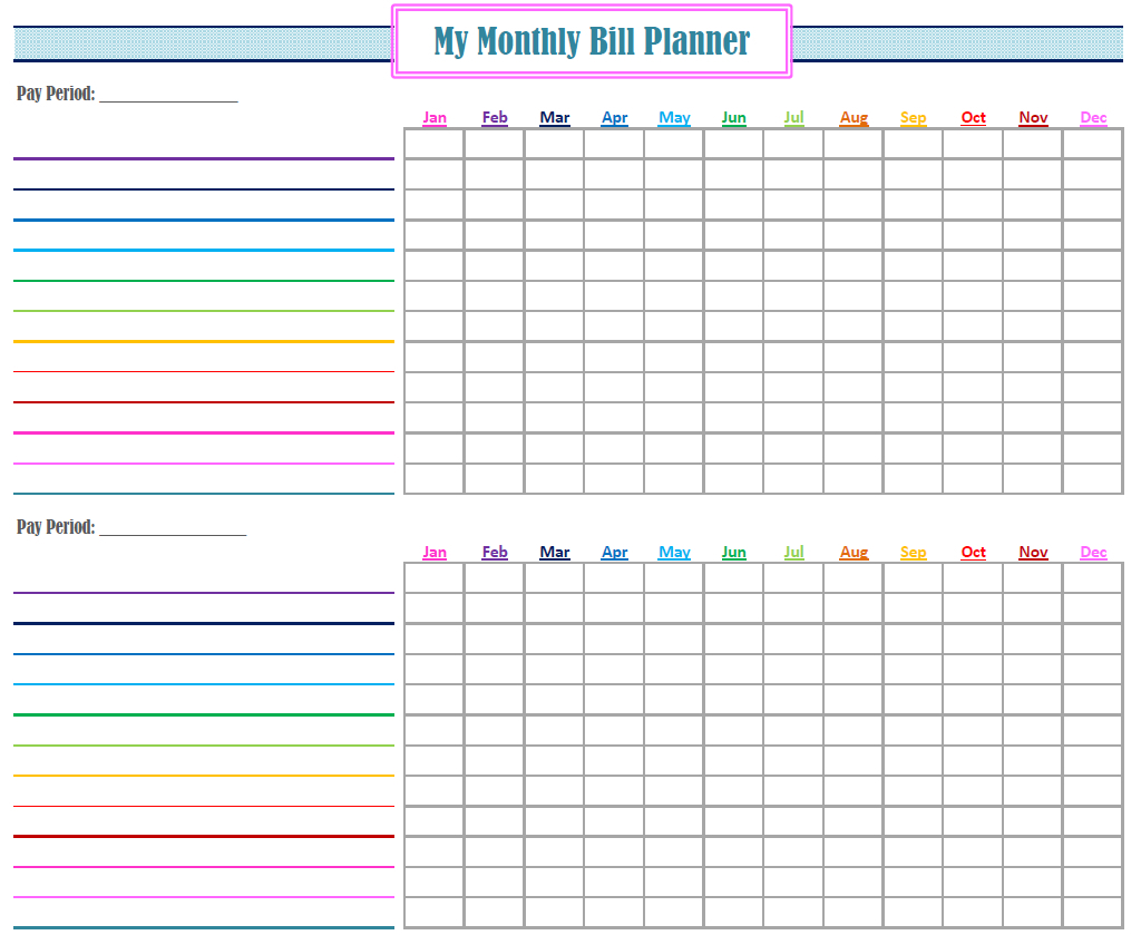 Monthly Bill Planner Printable | Room Surf with regard to Free Blank Printable Bill Paying Chart