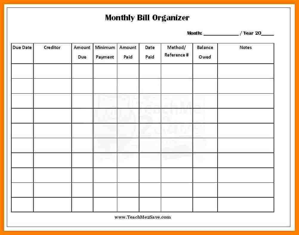 Monthly Bill Template Free Report Templates Expenses Spreadsheet in Free Bill Organizer Template Downloads