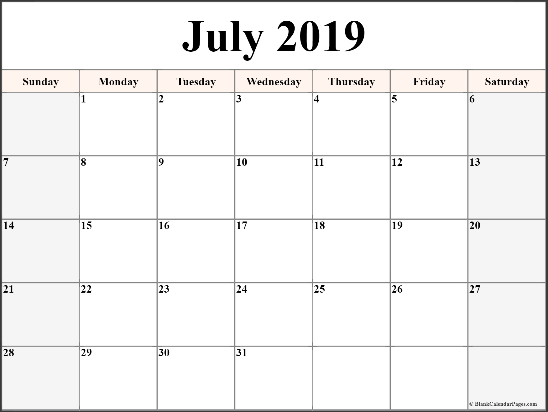 Monthly Blank Calendar July 2019 Printable Template with regard to Cute July Calendar Template