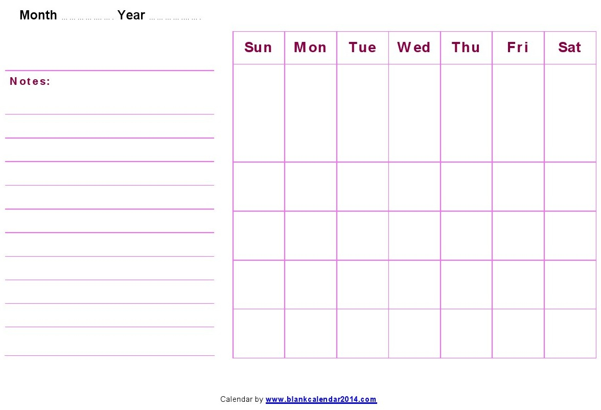 Monthly-Blank-Calendar-Notes with Blank Printable Calendar By Month With Notes