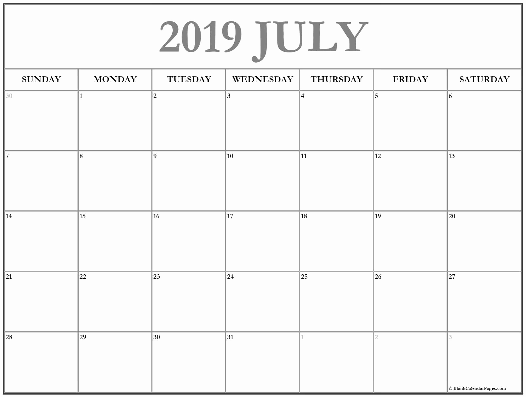 Monthly Blank Calendar Template July 2019 - Free Printable Calendar pertaining to Blank Calendar Template For August