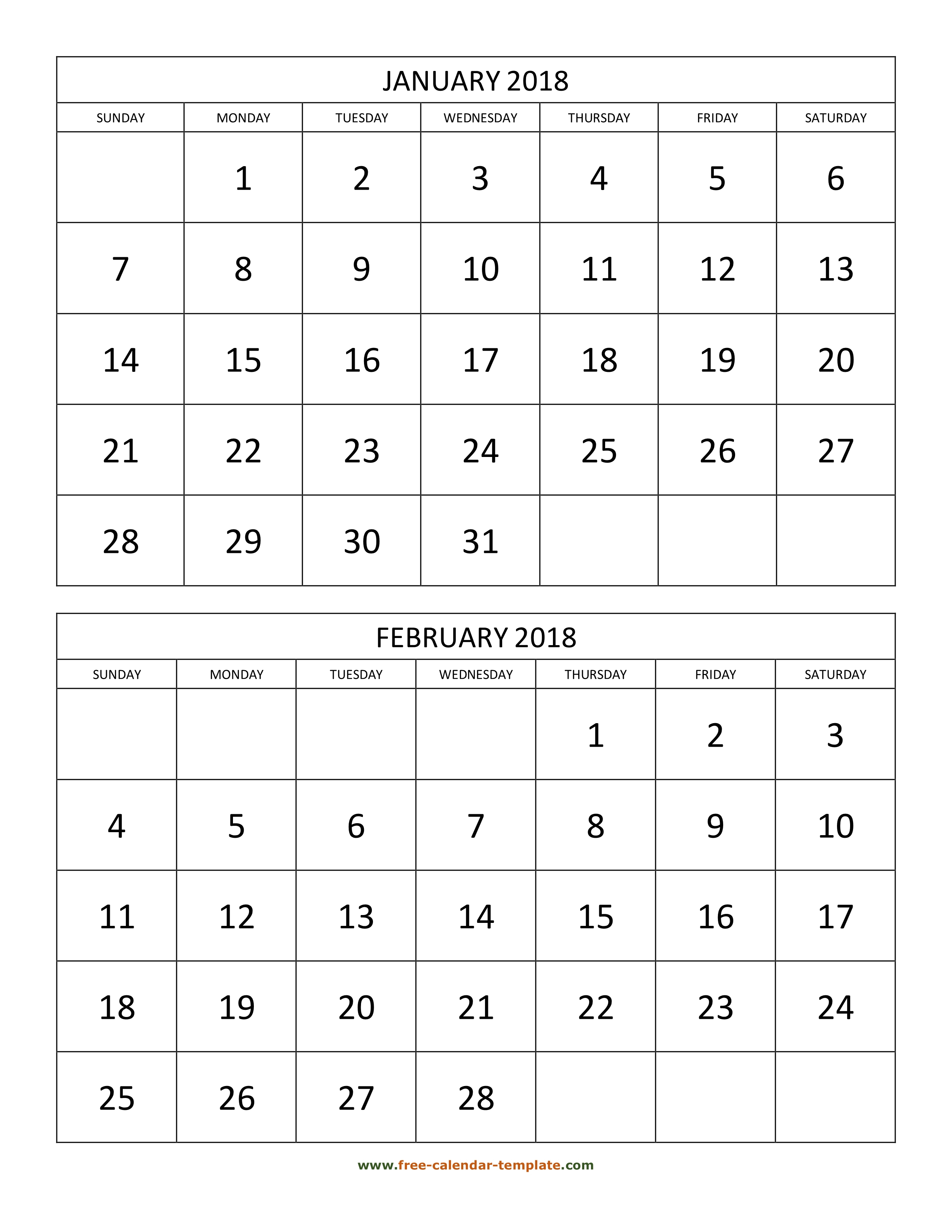 Monthly Calendar 2018, 2 Months Per Page (Vertical) | Free-Calendar with 2 Page Monthly Calendar Template