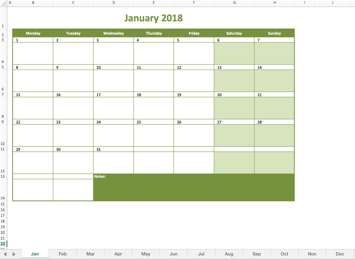 Monthly Calendar 2018 | Excel Templates For Every Purpose regarding Excel Monthly Calendar Template