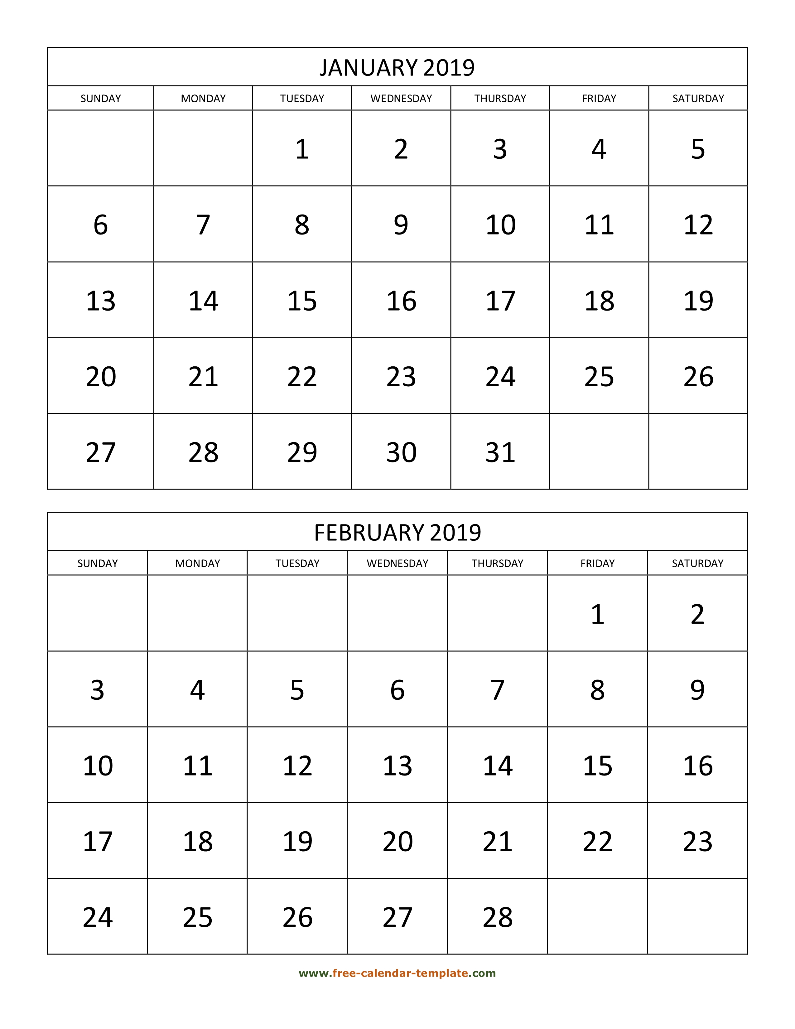 Monthly Calendar 2019, 2 Months Per Page (Vertical) | Free-Calendar inside 2 Month Calendar Template Printable