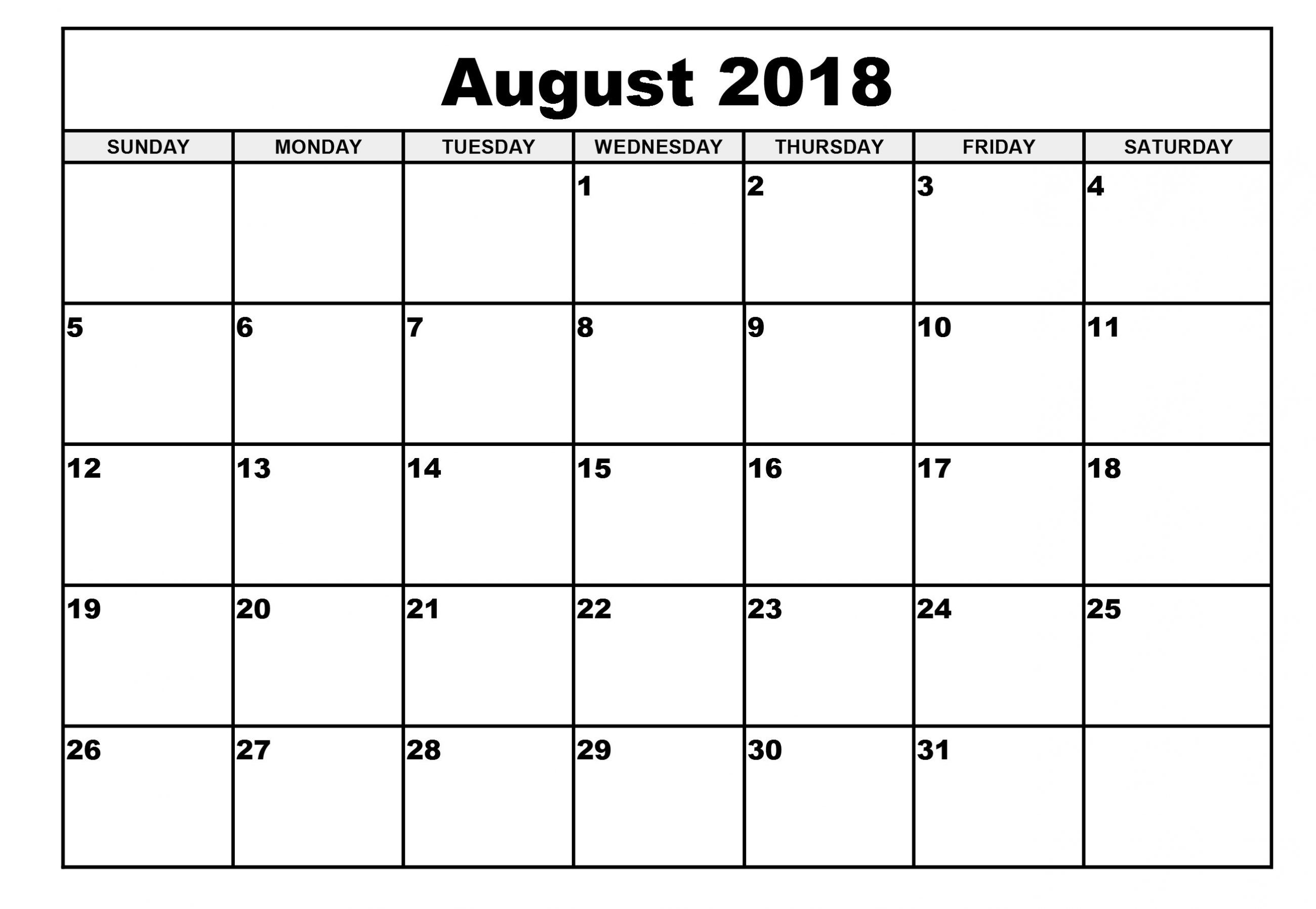 Monthly Calendar August Month 2018 | August 2018 Calendar | Monthly with August Printable Calendar Weekly Template