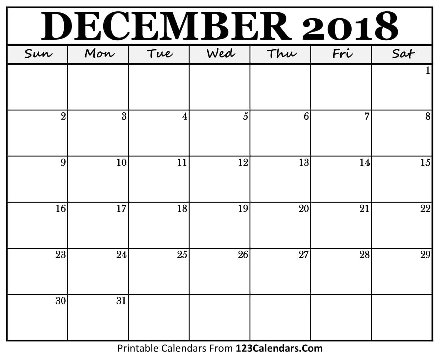 Monthly Calendar December 2018 Template Free Download with Blank Monthly Calendar Dec