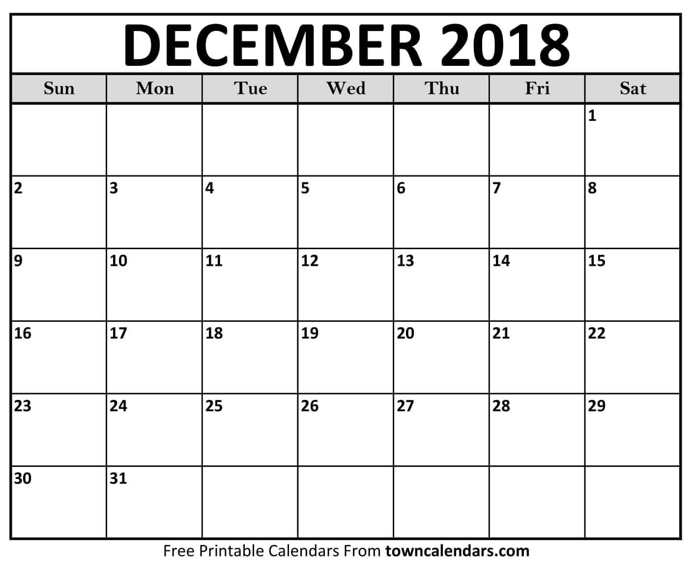Monthly Calendar December 2018 Template Free Download within Blank Calendar Printable December Template