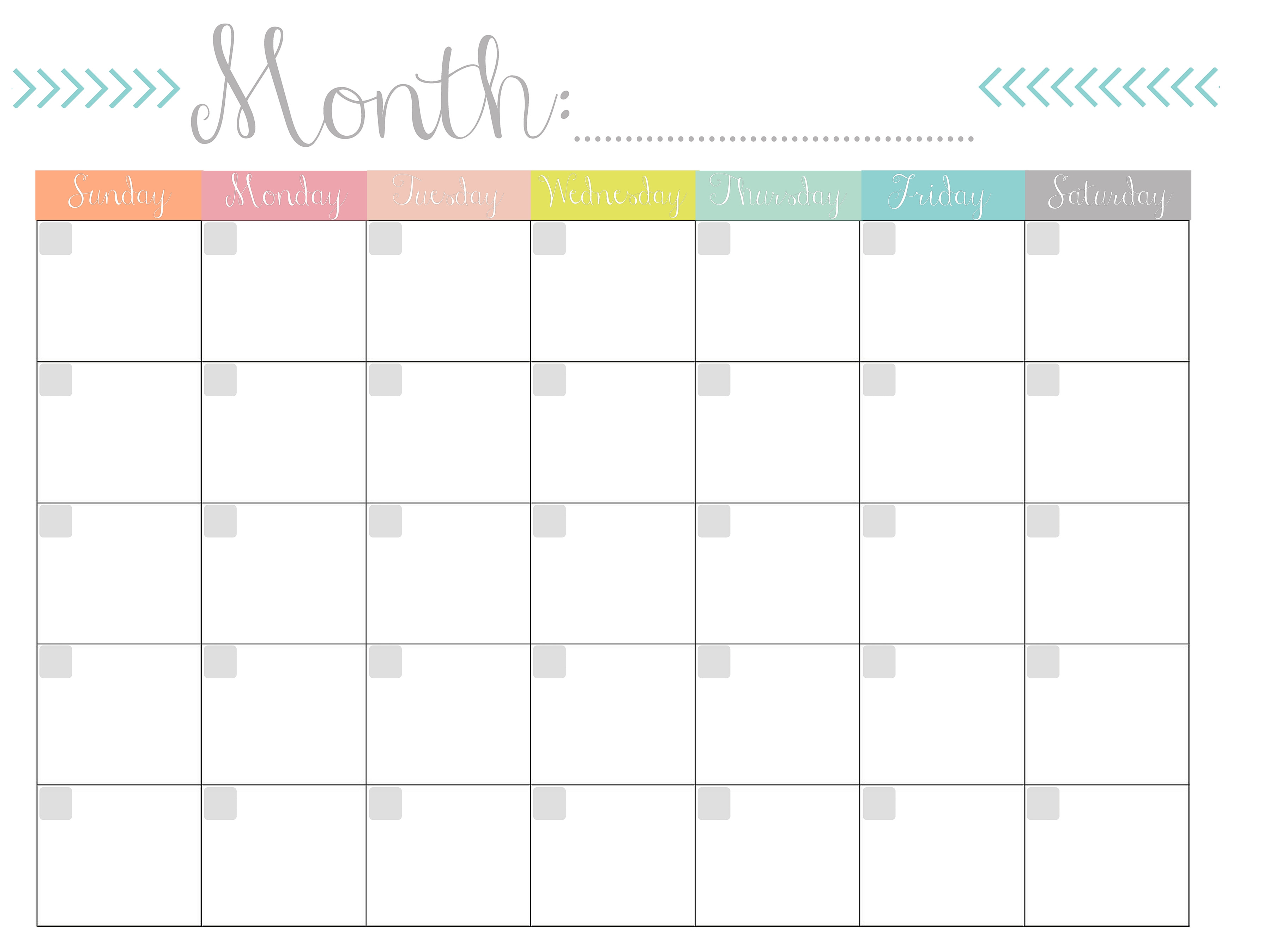 Monthly Calendar {Free Printable} in Printable Blank Monthly Calendar With Lines