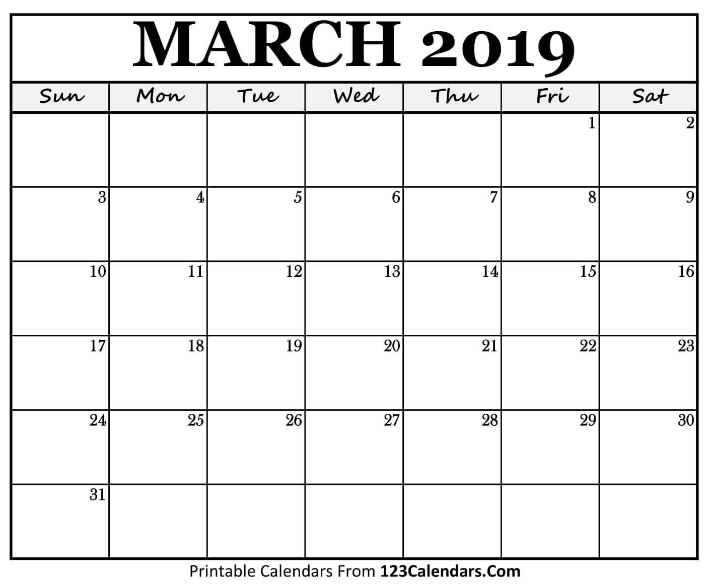 Monthly Calendar March 2019 Template Free Download | Free March 2019 inside March Calendar Printable Template