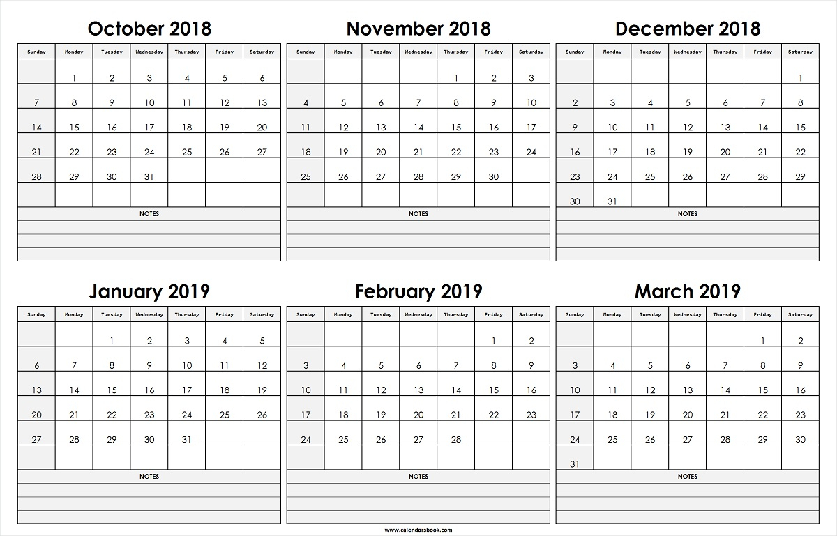 Monthly Calendar Oct Nov Dec 2018 Jan Feb Mar 2019 Template in Printable Blank Calendar October November December