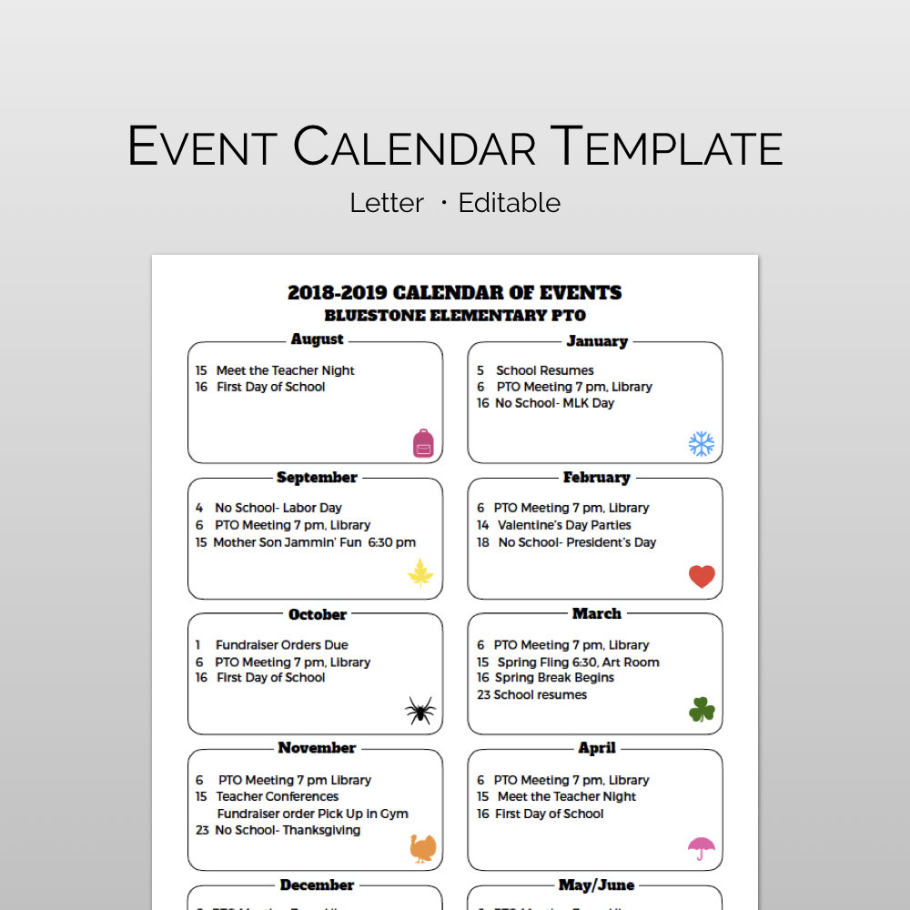 Monthly Calendar Of Events Flyer Template | Pta / Pto Presidents inside Calendar Of Events Template Free