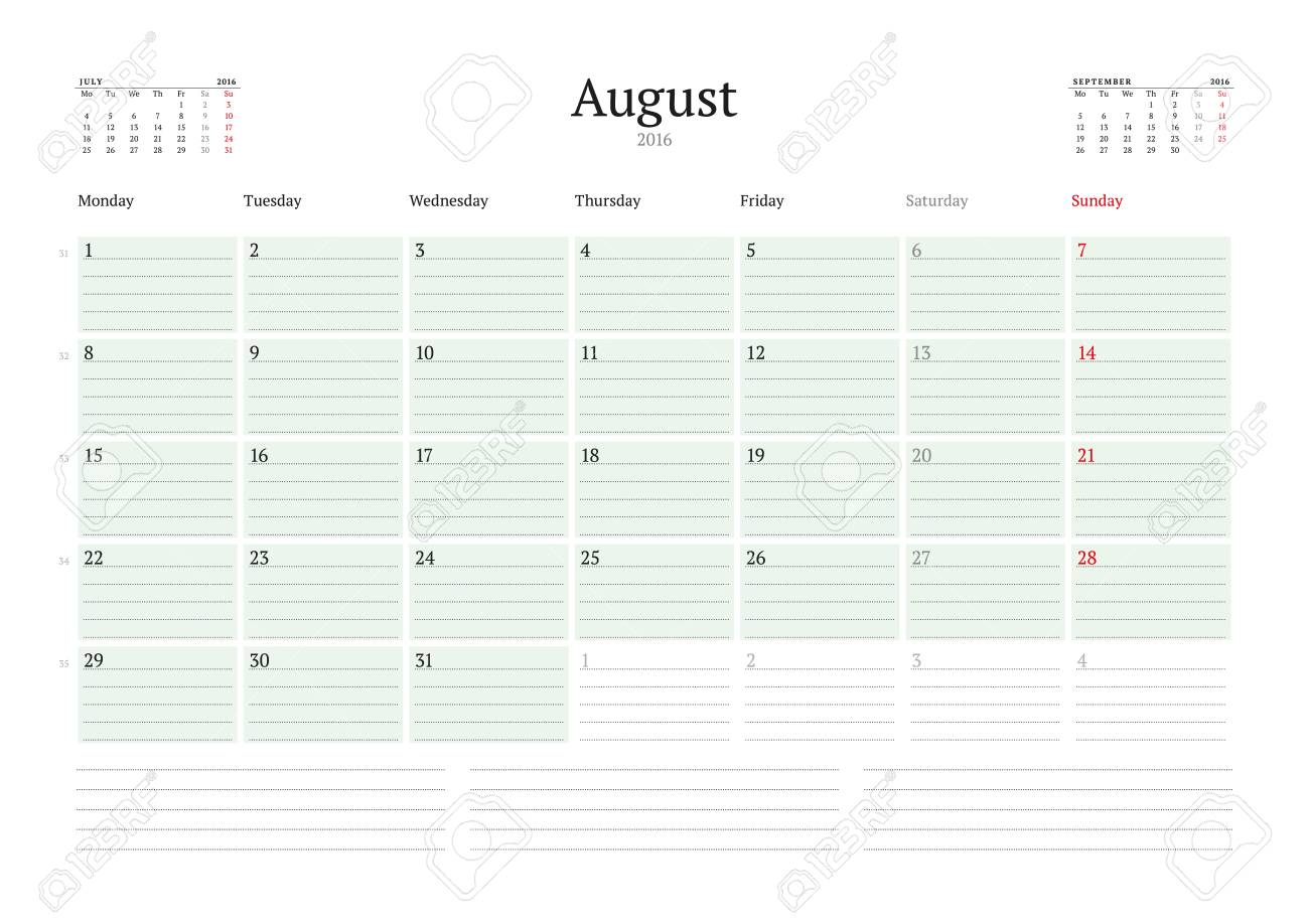 Monthly Calendar Planner 2016. Vector Print Template. August pertaining to June Printable Monthly Calendar Template Monday Through Friday
