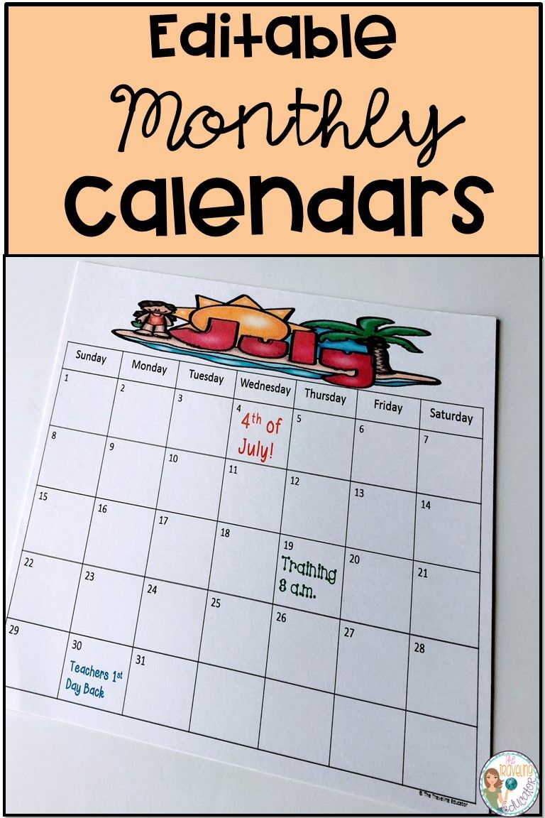 Monthly Calendar Template (Editable) | The Traveling Educator's with regard to Monthly Calendar Template Clip Art