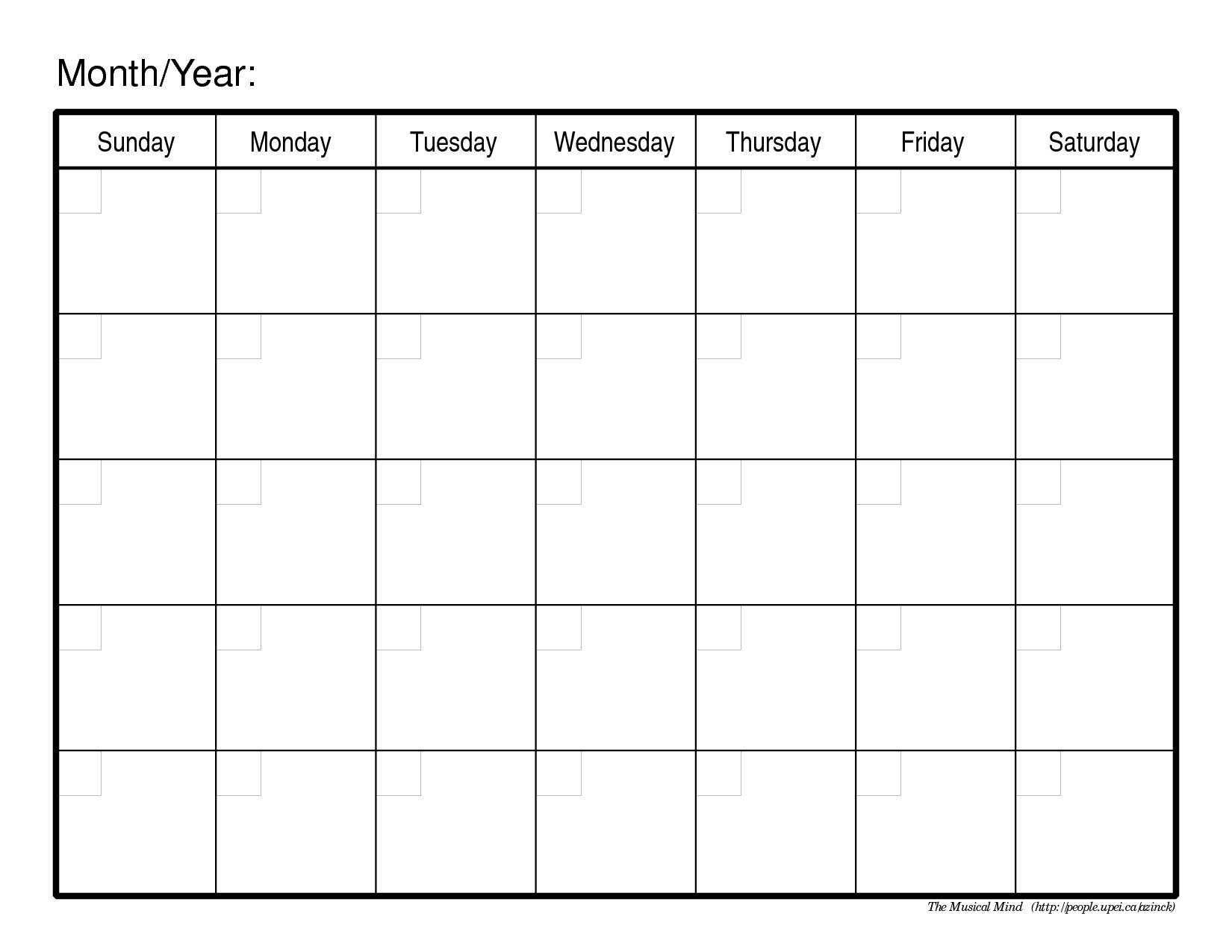 Monthly-Calendar-Template-Image pertaining to Blank Monthly Calendar Sheets