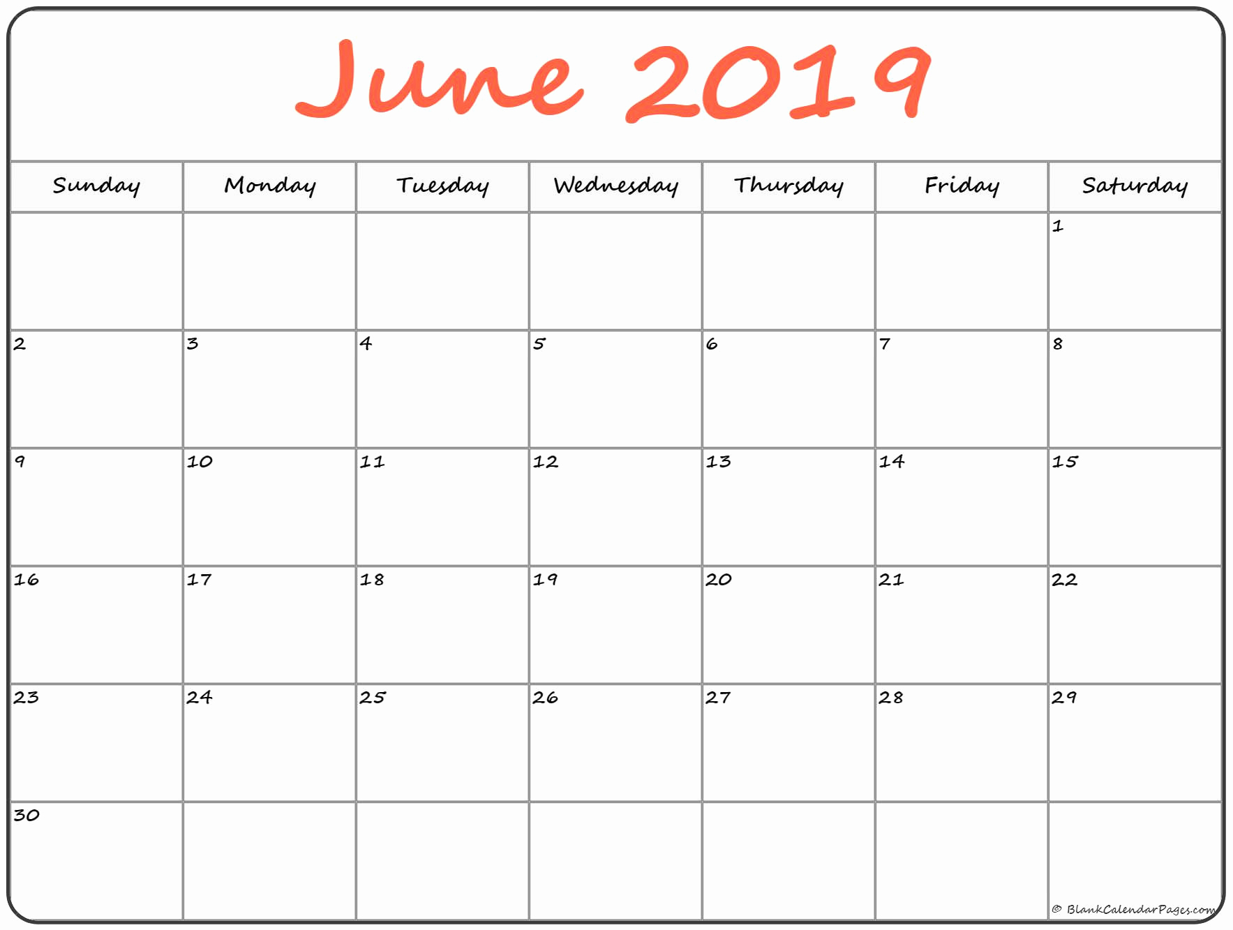 Monthly June 2019 Blank Calendar Pages Printable Template in Printable Blank Calendar Pages For September