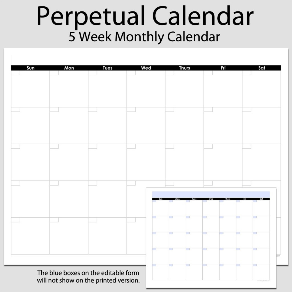 Monthly Perpetual Calendar In Landscape – 8 1/2″ X 11″ | Legacy 8 1 within Free Printable Perpetual Calendar Templates